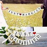 Just Married Girlande Vintage Rustikal Wimpelkette Banner mit Seil Hochzeitsgirlande als Deko für Hochzeit Fest Party Brautdusche Junggesellinnenabschied oder Foto Photo Booth Fotografie - 7