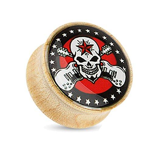 BlackAmazement Flesh Tunnel Plug Skull Totenkopf Rockstar Rebel Gitarre Ahorn Holz Wood (Größe: 14 mm)