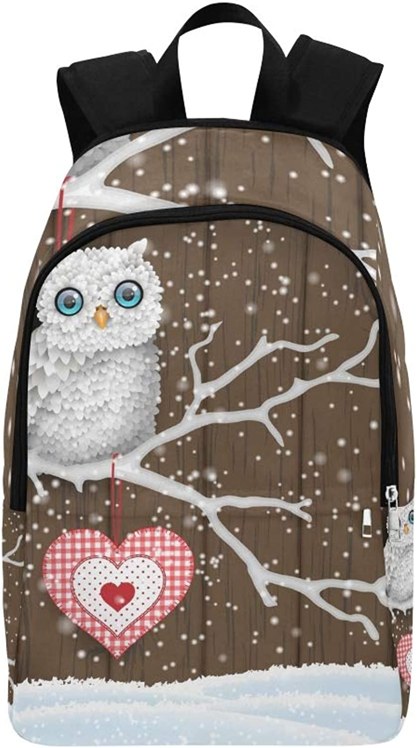 Christmas Motive Cute White Owl Sitting Casual Daypack Travel Bag College School Backpack for Mens and Women