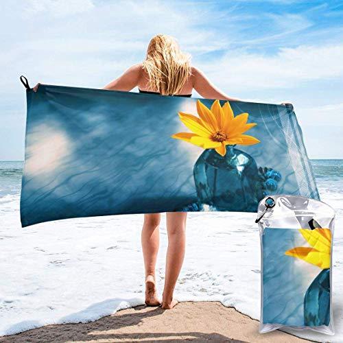 Toallas de Playa sin Arena Flores en la Botella Toalla de baño súper Absorbente de Secado rápido para Nadar y al Aire Libre, Toalla de Yoga portátil para niños Adultos