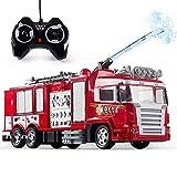 JY&WIN Water Spray RC Truck Control Remoto Rescue Car Camión de Bomberos con luz de Sonido Regalos de cumpleaños para niños Juguete de ingeniería Vehículo de construcción Juguetes educativos Niños