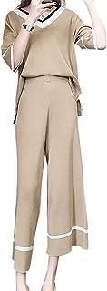 [ニーマンバイ] 2点 セットアップ vネック ニット パンツ カジュアル 配色 パンツスーツ S~L