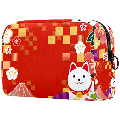Personalised Makeup Brushes Bag Portable Toiletry Bags for Women Handbag Cosmetic Travel Organiser Japanese Pattern Cat