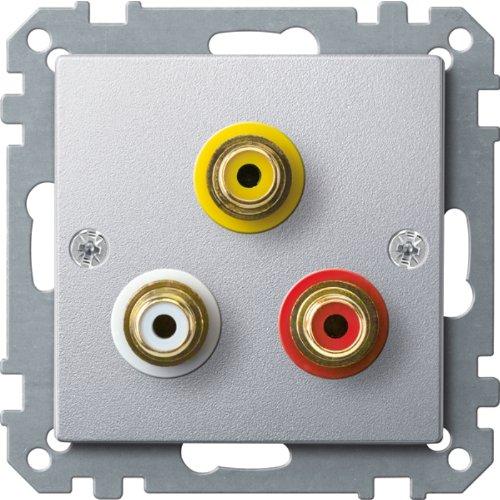 Merten MEG4351-0460 stopcontact voor audio/video-aansluiting, aluminium, systeem M
