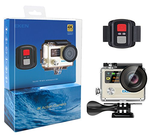 EKEN H8R 4K Action Camera, Full HD Wifi Waterproof Sports Camera with 4K30fps/ 2.7K30fps/ 1080p60fps/ 720p120fps Video, 12MP Photo and 170 Wide-Angle Lens, includes 15 Mountings Kit, 2 Batteries (God)