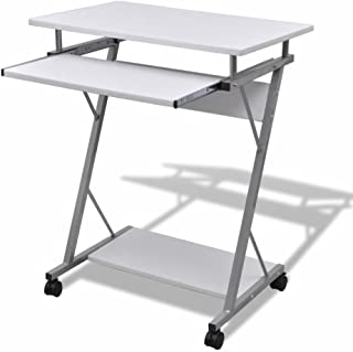 Computer Desk Pull Out Tray White Furniture Office Student Table Modern Stylish Look Steel Frames Large Work Surface