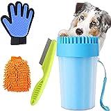 Limpia Patas Perro Portátil,Taza de Limpieza para Mascotas,Limpiador Patas Perro Mascota,Peine de Pulgas para...