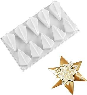 Adminitto88 2 Unids 3D Mousse Cake Molde, Pudín Pan Donuts Postre Silicona Decorar Molde, Hexagon Star Polygon Molde De Silicona, Herramienta De Bricolaje para Hornear