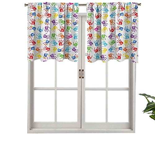 """Hiiiman Window Treatments Curtain Tiers Rod Pocket Human Handprint Kids Watercolor Paint Effect Open Palms Collage, Set of 1, 50""""x18"""" Home Decorative Blackout Panels for Kitchen"""