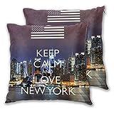 Fundas de Almohada cuadradas, I Love New York, Paquete de 2 Fundas de cojín Decorativas, Fundas de Almohada para sofá, Dormitorio, Coche, 40 x 40 cm