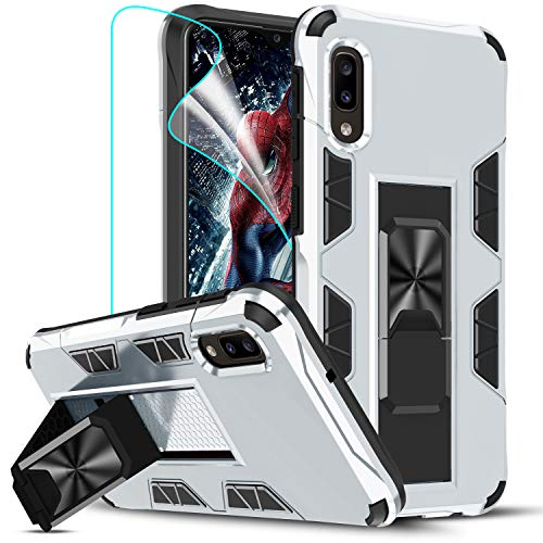 LeYi Compatible with Samsung A10E Case, Samsung Galaxy A10E Case with 2 Tempered Glass Screen Protector, Military-Grade Shockproof Built-in Kickstand Car Mount Phone Case for Galaxy A10E, Silver
