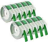 Cartridges Kingdom 10 Cintas de estampación 3D 9 mm x 3 m Color Blanco sobre Fondo Verde S0898160 compatibles para Dymo Omega y Junior impresoras de Etiquetas   plástico, autoadhesiva