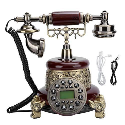 DealMux1 - Teléfono antiguo retro vintage, botón pulsador, teléfono fijo con cable, antiguo teléfono decorativo con cable, teléfono de casa, auricular, decoración del hogar