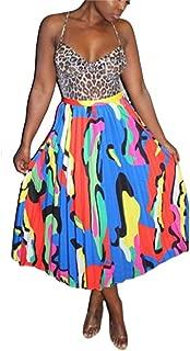 TsineY Women's Summer High Waist Tie Dye Floral Striped Pleated A-line Long Midi Skirt