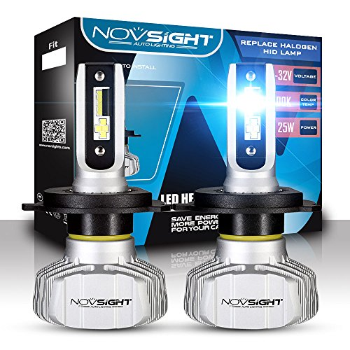NOVSIGHT H4 LED Headlight Bulbs Hi//Lo Beam 55W//Pair 10000LM 6000K Car Replacement Lights of Halogen and Xenon Kit 2 Lamps