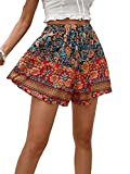 Milumia Women's Boho Floral Print Elastic High Waisted Comfy Wide Leg Shorts Multicoloured X-Large