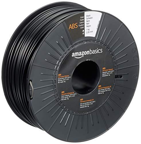 Amazon Basics - Filamento para impresora 3D, plástico ABS, 2.85 mm, cinta de 1 kg, negro