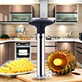 La Felicia Stainless Steel Pineapple Cutter and Fruit Peeler | Pineapple and Fruit Corer, Slicer, Peeler and Cutter Knife Ideal for Home and Kitchen – Silver Cutter with Black Handle