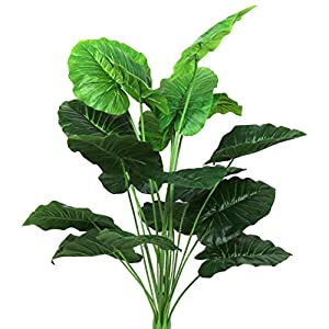Silk Flower Arrangements Artificial Palm Plants Banana Leaves Faux Turtle Leaf 28 Inch Fake Tropical Large Bird of Paradise Tree Leaves Imitation Leaf for Indoor Outside Home Décor (Green/Taro Leaves)