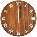 hui yuan 12-Inch Silent Wall Clock Vintage Arabic Numerals Round Wall Clock, Retro Country Chic Style Wooden Round Home Decoration Kitchen/Living Room/Bedroom Wall Clock (Walnut Fluorescent Version)
