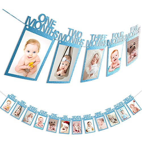 First Birthday Baby Photo Banner ,Blue Monthly Milestone Photo Garland, Growth Record 1-12 Month Photo Prop ,First Birthday Celebration Decoration