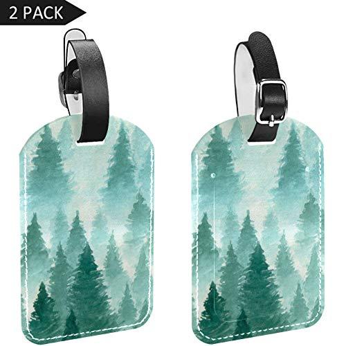 TIZORAX Lot de 2 étiquettes à bagages en cuir Forêt dans la brume