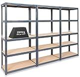 Pack of 3 Extra Deep STORALEX Garage Shelving Racking Units – UK's Bestselling Garage Storage Shelves - 600mm Deep Version - 200kg Per Shelf (Evenly Distributed) - 5 Tier Shelf Unit - Metal & MDF Boltless Assembly System
