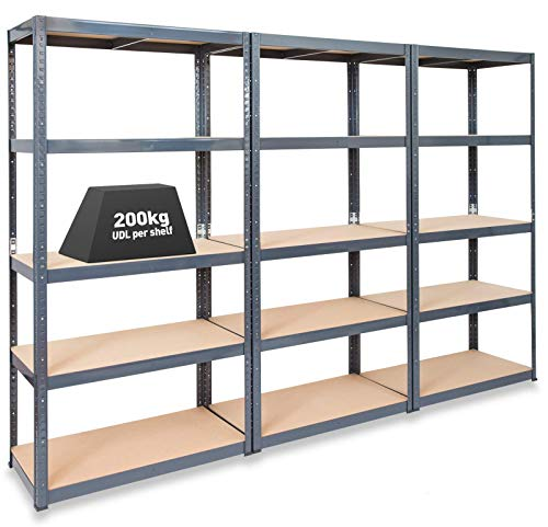 Storalex Pack of 3 Extra Deep Garage Shelving Racking Units