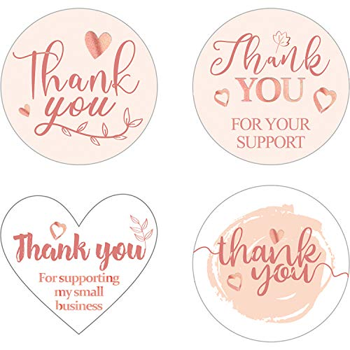 500 Piezas Pegatinas Etiquetas de Thank You for Supporting My Small Business 4 Diseños Pegatinas Autoadhesivas Thank You for Your Order para Bolsas Regalo y Propietarios Pequeñas Empresas (Oro Rosa)