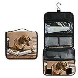 Bardic Hanging Travel Toiletry Bag Dachshund Dog Reading Book Large Capacity Makeup Cosmetic Bag Portable Toiletry Kit Organizer