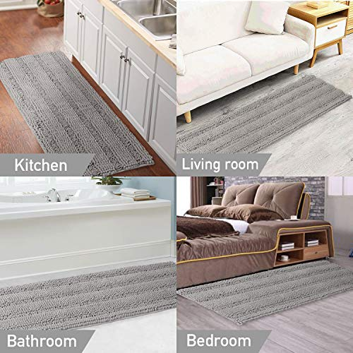 Gray Kitchen Runner Chenille Shag Area Rug Non Slip Backing for Kitchen Floor Runner Rug With Water Absorbent Bath Room Mat for Kitchen/Tub/Living Room, 59