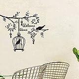 TJVXN Bienvenido a casa Etiqueta de la Pared árbol pájaro Vinilo Vinilo decoración del hogar Sala de Estar Dormitorio calcomanía extraíble Jaula de pájaros decoración 57x80 cm