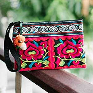 Changnoi Flower Women's Purse, Iphone holder with Hmong Tribal Embroidery, Fair Trade Bag from Thailand, Pom Pom Clutch…