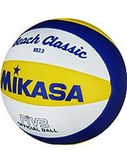 MIKASA VX 3,5 - Pelota pequeña de Volley Playa (15 cm), Color Azul, Amarillo y Blanco