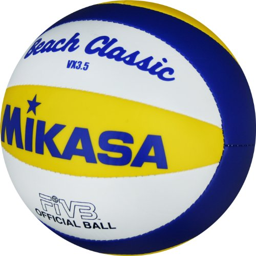 MIKASA Minivolleyball Beach VX 3,5, blau - gelb - weiß, 15 cm Durchmesser