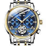 OLEVS Swiss Automatic Watches Day/Date Self Winding Watch for Men Tourbillon Watch Skeleton Men's Wrist Watches Classic Luxury Dress Japan Blue Dial Without no Mechanical Wristwatch,reloj para Hombre