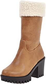 RizaBina Women Winter Platform Chunky High Heels Lace up