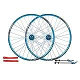 ns Set Ruote Bici Mountain Bike 26 Pollici Cerchio Lega A Doppio Strato Cuscinetto Sigillato Freno A Disco 32 Fori 7-10 Anteriore Posteriore Bicicletta (Color : Blue)