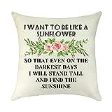Inspirational Gift Decorative Sunflower Throw Pillow Cover Sunlight Spiritual Gifts for Women Best Friend Sister Birthday Pillow Case Cushion Cover Pillowcase Home Bedeoom Decor 18 inch