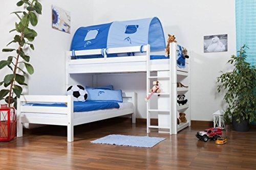 Kinderbett Etagenbett Moritz L Buche Vollholz massiv weiß lackiert mit Regal, inkl. Rollrost - 90 x 200 cm, teilbar