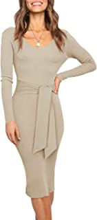 Women's Sexy V Neck Sweater Dress Fall Long Sleeve Backless Knitted Belt Tie Waist Ribbed Sweater Bodycon Maxi Dresses