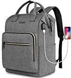 Travel Laptop Backpack for Women 15.6 Inch Stylish College School Backpack with USB Charging Port, Rfid Anti Theft Water Resistant Casual Daypack Backpacks for Girls Business Travel Gifts, Gray