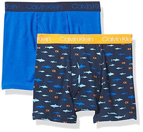 Calvin Klein Calzoncillos tipo bóxer de algodón para niños, diseño moderno, varios colores, Blue Bell/Victoria Blue Tie Dye, 4-5