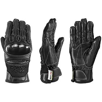 MOTERO Man Leather Motorcycle Gloves  Summer  – Full Finger Vented Adjustable – Carbon Kevlar Knuckle Protectors – Motorbike Accessories  Large Black