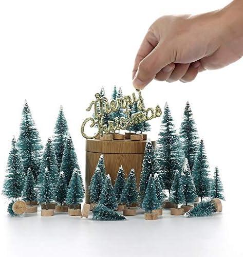 Kerstboom 34pcs Fiber Mini Sneeuw van de kerstboom Vorst Small Pine Tree DIY Craft Desktop Decoration Kerstboom Ornamenten Eenvoudige montage Color24PCS