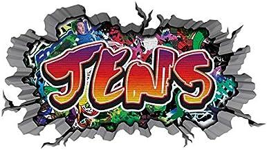 3D muursticker graffiti muur sticker naam JENS muur doorbraak sticker jongen zelfklevende muursticker jongendecoratie kind...