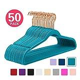 Premium Velvet Hangers (Pack of 50) Heavyduty - Non Slip - Velvet Suit Hangers Teal - Copper/Rose Gold Hooks,Space Saving Clothes Hangers