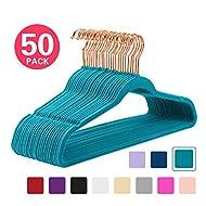 MIZGI Premium Velvet Hangers (Pack of 50) Heavyduty - Non Slip - Velvet Suit Hangers Teal - Copper/Rose Gold Hooks,Space Saving Clothes Hangers