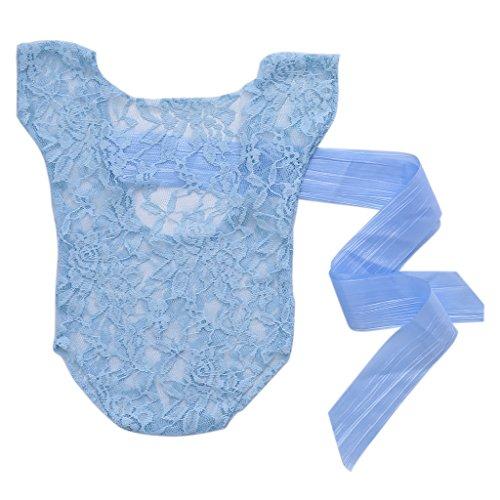 VIccoo Baby Fotografie Romper, geboren Baby Meisje Kant Zijde Boog Terug Romper Jumpsuit Fotografie Prop Outfit - Sky Blue