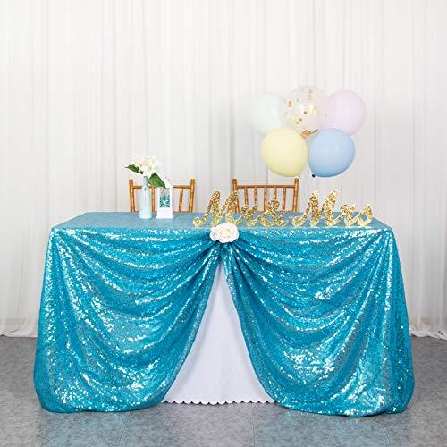 Tischdecken Pailletten Tischdecke Aqua Blue Payette Pailletten Tischdecke 48x72-Zoll Party Bankett Dekoration Leinen Tischdecke Ovelay für die Hochzeit (125 x 180 cm, Türkis)